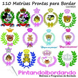 Matrizes de Bordado - 110 Ramos com Coroa, Ursos e molduras!