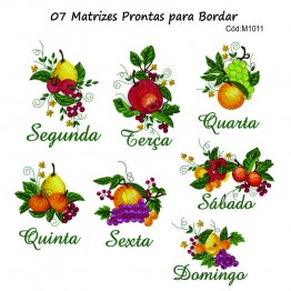 Matrizes para Bordar Semaninha Frutas