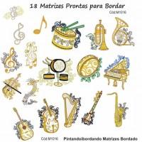 18 Matrizes para Bordar Instrumentos Musicais