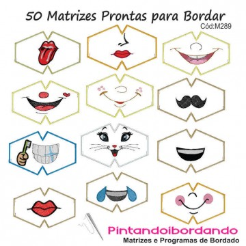 50 Matrizes p/ Bordar Máscaras - Temas Diversos
