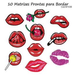 10  Matrizes de Bordado Bocas para Máscaras