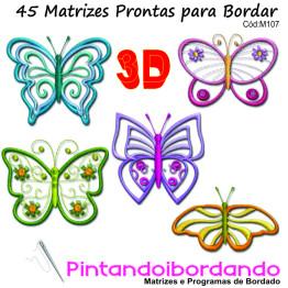 Matrizes para bordar Borboletas 3D - 45 matrizes