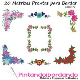 Kit de 20 Matrizes de Bordar Flores, bordas, cantos