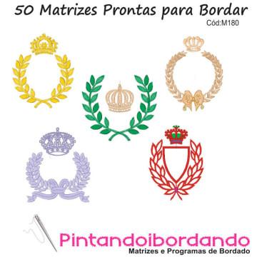 50 Matrizes de Bordados Coroas, Ramos e Molduras