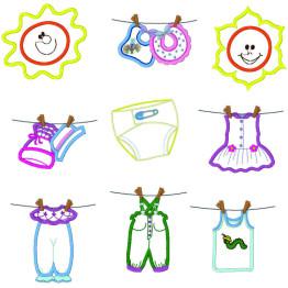 Matriz de bordar Roupinhas de Bebê apliques