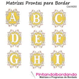 Matrizes para Bordar alfabetos Flores e molduras