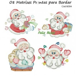 Matrizes de Bordado Papai Noel Rippled
