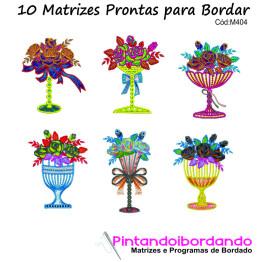Matrizes para Bordar Vasos de Flores