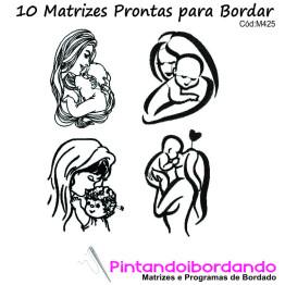 10 Matrizes para bordar Mães lindas!