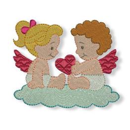 2 Matriz para Bordar Casal Anjos Namorados