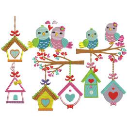 10 Matrizes para bordar Casinhas de Pássaros