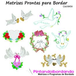 Matrizes para Bordar Pombas Lindas - 30 Matrizes