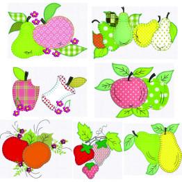 Kit com 12  Matrizes para bordar Frutas em Apliques