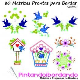 Matrizes para Bordar Pássaros e casinhas Lindos - 80 Matrizes