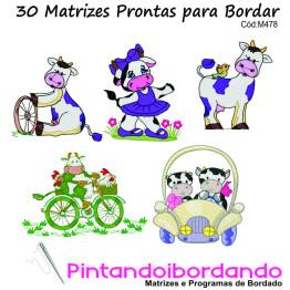 Matrizes para Bordar Vaquinhas Lindas - 30 Matrizes