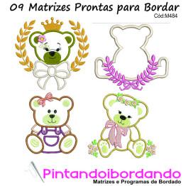 Matrizes para Bordar Ursas Apliques - 9 Matrizes