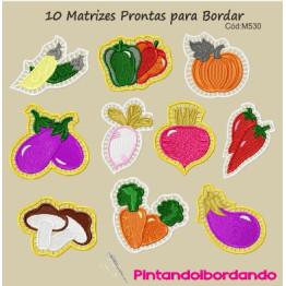 10 Matrizes Bordado Apliques Legumes Richelieu