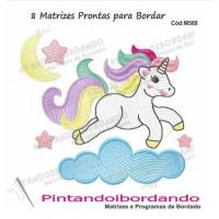 Matriz Para Bordar Unicornios Infantil Fofo - 8 Matrizes