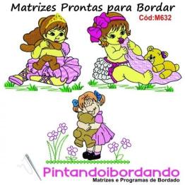 Matrizes De Bordado Menina Com Urso Lindas- 8 Matrizes
