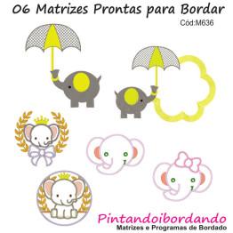 Matrizes de Bordado Elefantes Lindos - 6 Matrizes