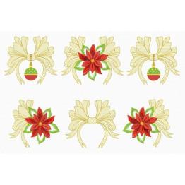 Matrizes de Bordado Laços e Flores de Natal