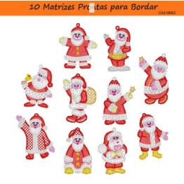 Matrizes De Bordado Papai Noel Penduricálios