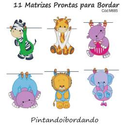 Kit com 11 Matrizes De Bordar Bichinhos no Varal