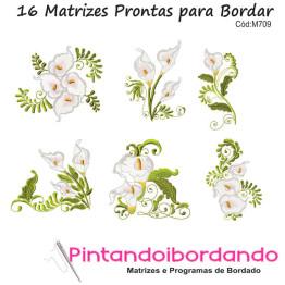 Matrizes para Bordar Flores Copo de Leite - 16 Matrizes