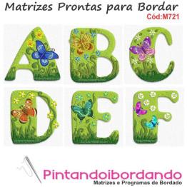 Matriz De Bordado Alfabeto Borboletas