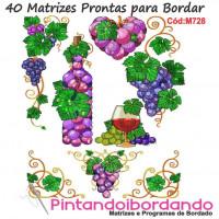 40 Matrizes para bordar Uvas