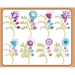 Matrizes para Bordar Flores Delicadas - 32 Matrizes