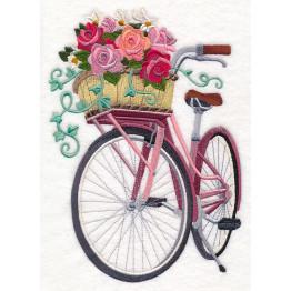 Matriz para Bordar Bicicleta e Cesto com Flores