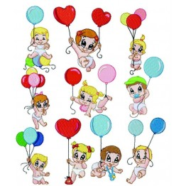 Matrizes para bordar Babys com Balão