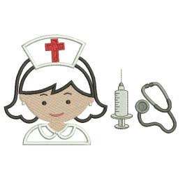 Matrizes para Bordar Enfermeiras Apliques - 6 Matrizes