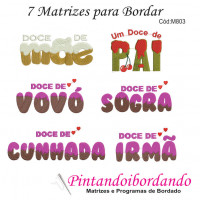 Kit com 7 Matrizes De Bordar Frases Doce da(o)