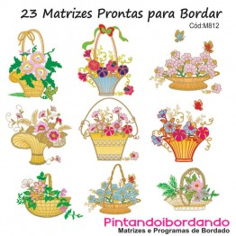 Matrizes De Bordado Cesto de Flores - 23 Matrizes