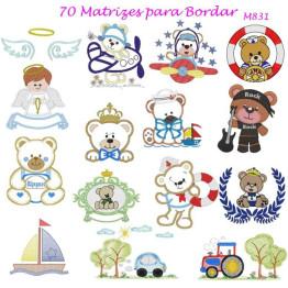 Matrizes De Bordado Infantil para Meninos - 70 Matrizes
