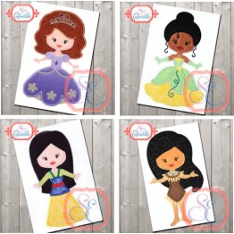Matrizes De Bordado 16 Princesas Disney Apliques