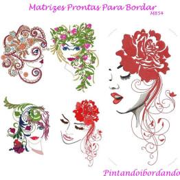 Matrizes De Bordado Face de Mulheres Florais
