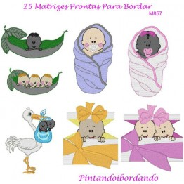 Matrizes De Bordado Baby Gêmeos - 25 Matrizes