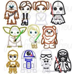 Matrizes De Bordado Star Wars Infantil Apliques - 18 Matrizes