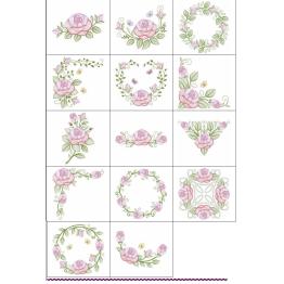Matrizes De Bordado Rosas em Rippled - 14 Matrizes
