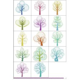 Matrizes de Bordado Árvores em Rippled - 14 Matrizes