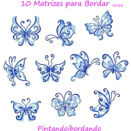 10 Matrizes de Bordar Borboletas Delicadas