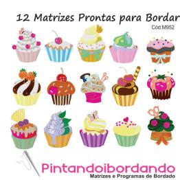 12 Matrizes de Bordar Cupcake Lindos