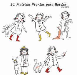 Matrizes De Bordado Menina e Amigos